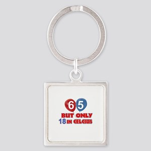 65 year old designs Square Keychain