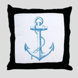 Glitter Anchor Throw Pillow