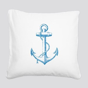 Glitter Anchor Square Canvas Pillow