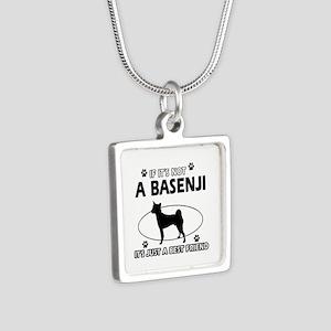 Basenji designs Silver Square Necklace