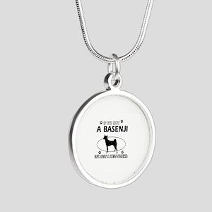 Basenji designs Silver Round Necklace