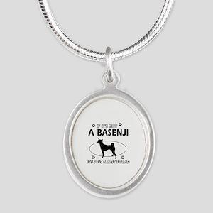 Basenji designs Silver Oval Necklace