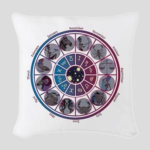 Starlight Zodiac Wheel Woven Throw Pillow