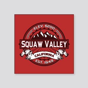 "Squaw Valley Red Square Sticker 3"" x 3"""