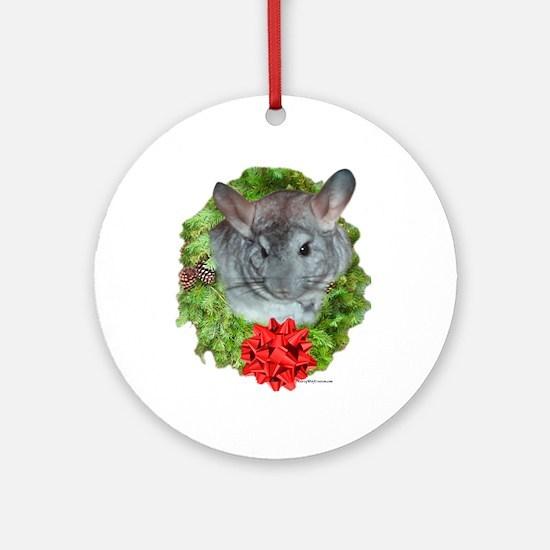 Chinchilla Wreath Ornament (Round)