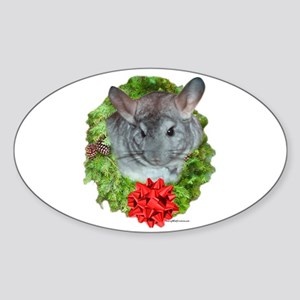 Chinchilla Wreath Oval Sticker