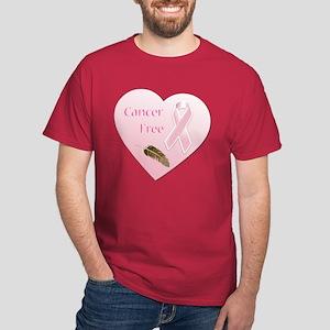Cancer Free Pink Ribbon Heart Dark T-Shirt