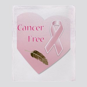Cancer Free Pink Ribbon Heart Throw Blanket