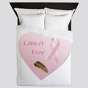 Cancer Free Pink Ribbon Heart Queen Duvet