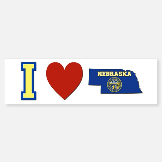 I Love Nebraska Sticker (Bumper)