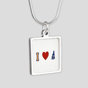 I Love New Hampshire Silver Square Necklace