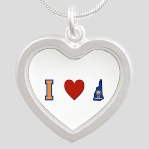 I Love New Hampshire Silver Heart Necklace