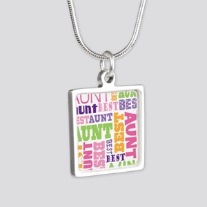 Best Aunt Design Gift Silver Square Necklace