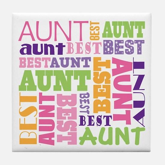 Best Aunt Design Gift Tile Coaster