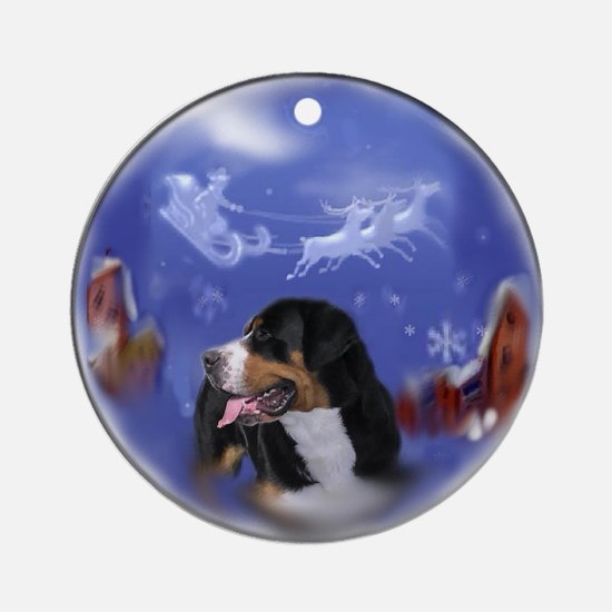 Greater Swiss Mountain Dog Christma Round Ornament