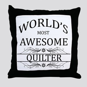 World's Most Awesome Quilter Throw Pillow