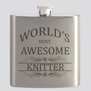World's Most Awesome Knitter Flask