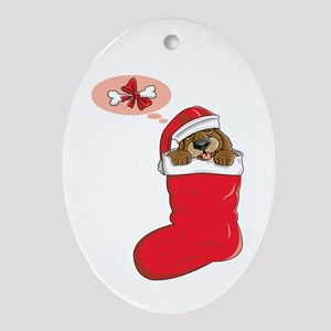 Stocking Puppy Oval Ornament