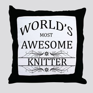 World's Most Awesome Knitter Throw Pillow