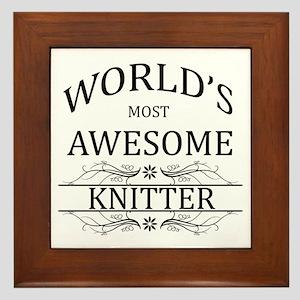 World's Most Awesome Knitter Framed Tile