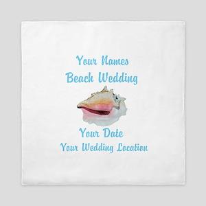 Custom Beach Wedding Queen Duvet