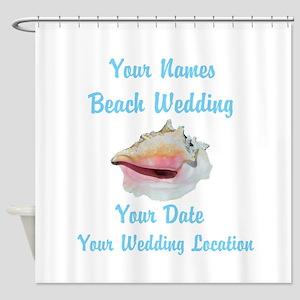 Custom Beach Wedding Shower Curtain