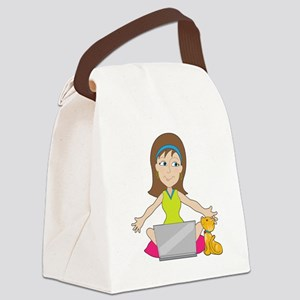 Happy Laptop Lady Canvas Lunch Bag