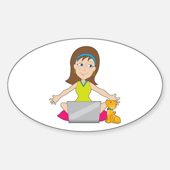 Happy Laptop Lady Sticker (Oval)