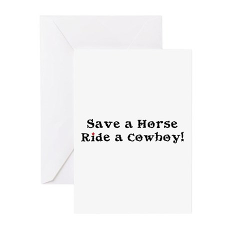 Save a Horse Ride a Cowboy Greeting Cards (Pk of 1