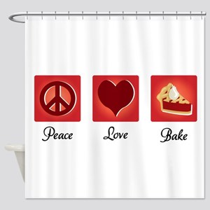 Peace Love Bake Shower Curtain