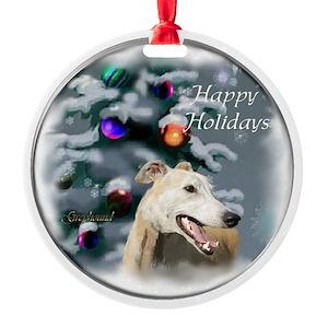 Greyhound Christmas Aluminum Round Ornaments - CafePress