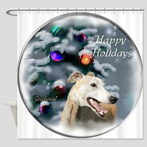 Greyhound Christmas Shower Curtain