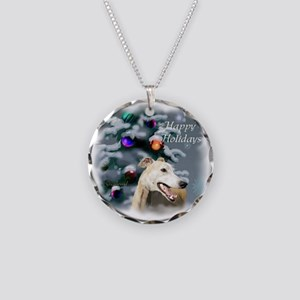 Greyhound Christmas Necklace Circle Charm