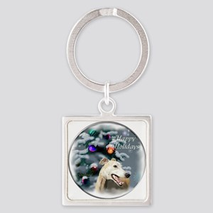 Greyhound Christmas Square Keychain