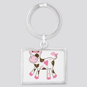 Pink Cow with Heart Keychains