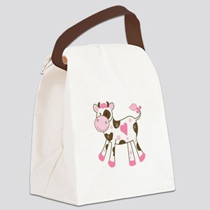 Pink Cow with Heart Canvas Lunch Bag