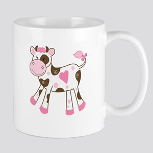 Pink Cow with Heart Mug