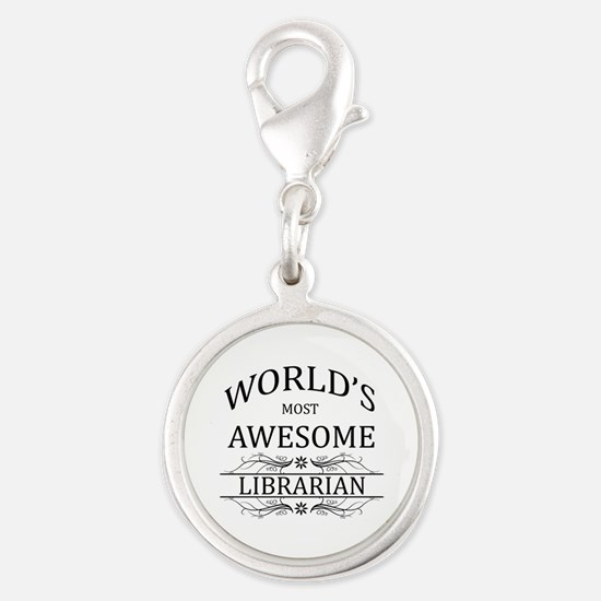 World's Most Awesome Librarian Silver Round Charm