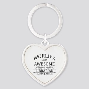 World's Most Awesome Librarian Heart Keychain