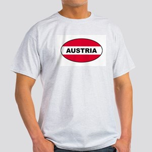 Austrian Oval Flag on Ash Grey T-Shirt