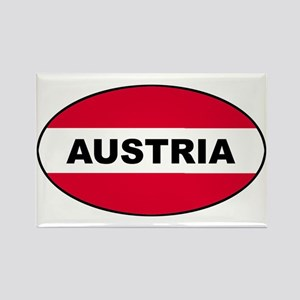 Austrian Oval Flag on Rectangle Magnet