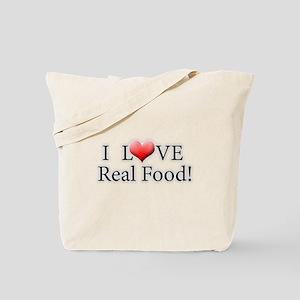 I Love Real Food Logo Tote Bag