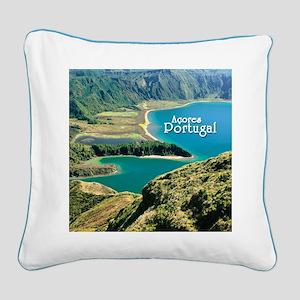 Lagoa do Fogo Square Canvas Pillow