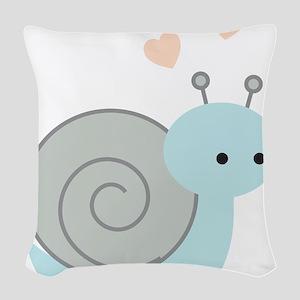 Lovely Snail Woven Throw Pillow