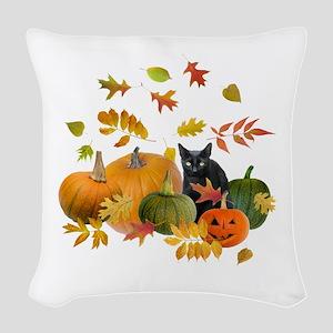 Black Cat Pumpkins Woven Throw Pillow