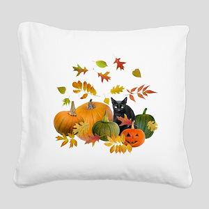 Black Cat Pumpkins Square Canvas Pillow