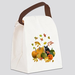 Black Cat Pumpkins Canvas Lunch Bag