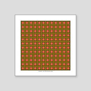 "Brown Latticework Square Sticker 3"" x 3"""