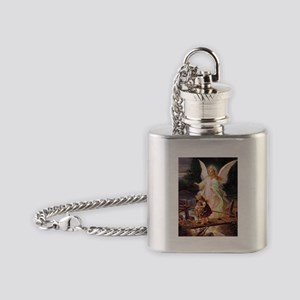 Guardian Angel with Children on Bridge Flask Neckl