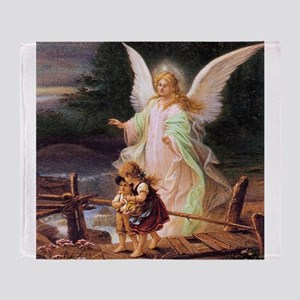 Guardian Angel with Children on Bridge Throw Blank